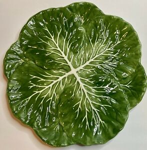 """Pier 1 Imports Cabbage Lettuce Leaf Plate Platter Dolomite Hand Painted 14"""""""