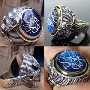 Turkish Handmade Jewelry Silver İslamic Men's Ring High Size 7-10 qualit Y1H5