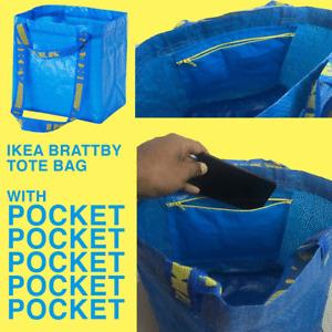 Ikea Brattby Tote Bag Small Blue Frakta WiTH ZIPPER POCKET