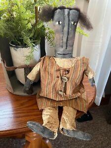FARMHOUSE DECOR PRIMITIVE GRUNGED RUSTIC CLOTH HANDMADE BLACK FOLK ART DOLL KEY