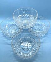 "Arcoroc France  Crystal Glass 5"" Bowls Diamond Starburst Fruit-Dessert Set of 4"