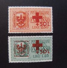 """GERMANIA GERMANY,REICH 1944 Laibach,Lubiana"""" ESPRESSI Red SVR"""" 2V.cpl MNH Signed"""