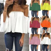 Fashion Off-shoulder Shirt Women Chiffon Tops Summer Flare Sleeve Blouse T-shirt