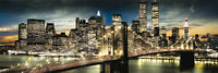 MANHATTAN - NEW YORK CITY POSTER - 12x36 SKYLINE LIGHTS BRIDGE 12103