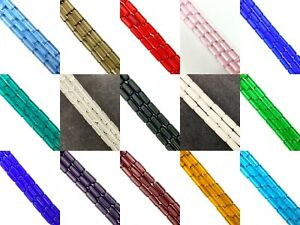 10mm x 4mm Glass Tube Beads, approx 32, 12in strand, Column / Cylinder / Lozenge