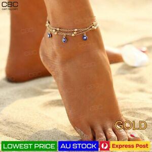 Evil Eye Anklet Greek Turkish Gold Charm Barefoot Protect Chain Women Girl AU
