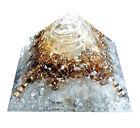 Clear Quartz Stone Silver Glitter Reiki Orgone Pyramid Orgonite Energy Generator