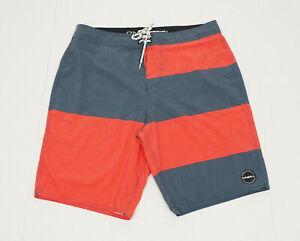 O'neill Blue Striped Retro Swimsuit Surf Swim Board Shorts Mens 34