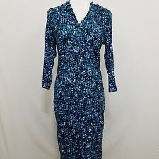 Attention Dress Women's Size XL Extra Large Blue Full Length 3/4 Sleeve F675