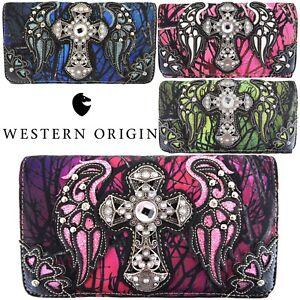 Western Camouflage Cross Wings Purse Single Shoulder Bags Clutch Women Wallet