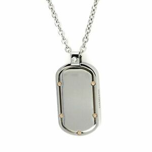 Auth DAMIANI Stainless Steel & 18K Gold Diamond Dog Tag Pendant Necklace Size 20