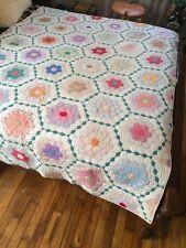 "Antique American Classic Grandmother Flower Garden Quilt 8 Stitches per 1"" #1"
