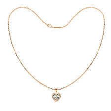 Tresor Paris White Crystal Heart & 18ct Rose Gold Plated Silver Necklace 021870