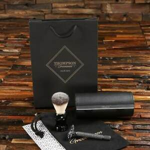 Personalised Stainless Steel Razor in Faux Leather Case Mens Travel Shaving Set