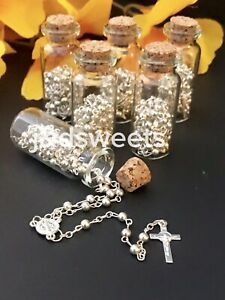 12-Rosary Baptism Favors Boy/Girl Recuerdos Bautizo Rosario Communion Glass Jar