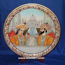 "12"" Beautiful Marble Mughal Plate Mumtaj Shahjahan Home Decor Hand Painted Gifts"