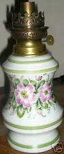 """Limoges Oil Lamp """"Hand Painted"""" Pink/Green Floral ! Old"""
