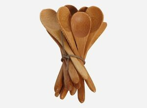 Danish House Doctor Mini Bamboo Wooden Spoons Set of 12 Dessert Ice Cream Kids