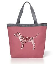 NWT VICTORIA'S SECRET PINK SOFT BEGONIA BLING SEQUIN DOG BLACK FRIDAY TOTE BAG