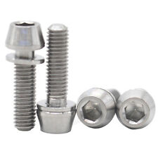 MCTi M5X18 TI Titanium Bolts Allen Hex Aerospace Bike Tapered Screw+Washer 4Pcs