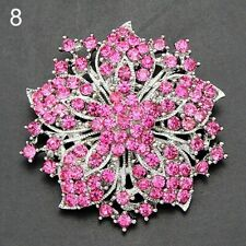 Pink Flower Rose BROOCH Pin Broach Crystal Diamante Rhinestone Mothers Day Gift