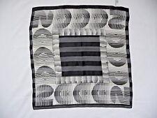 """Elaine Gold Scarf Necktie 100% Silk Black White Textured 2000 Millennium 21""""x21"""""""