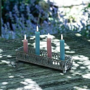 Grey Metal Tin 4 Dinner Taper Candle Holder Tray, Distressed Rustic Scandi Style