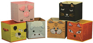 6er Aufbewahrungsboxen TIERE, Faltboxen, Kinderzimmer, Spielkiste