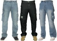 Mens New ENZO Cargo Combat Jeans Regular Fit Straight Leg Denim Big Size 28 - 48
