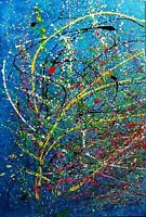 """Abstract Painting hand made on canvas """"ABSTRACT COMPOSITION"""" 90 x 60"""