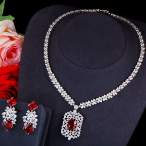Ruby Red CZ Square Leaf Earrings Necklace Set for Women Evening Party Jewelry