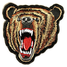 Embroidered Brown Grizzly Bear Face Sew or Iron on Patch Biker Patch