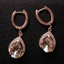 Morganite Dangle Earrings Sterling Silver Cubic Zirconia Rounds 14k Rose Finish