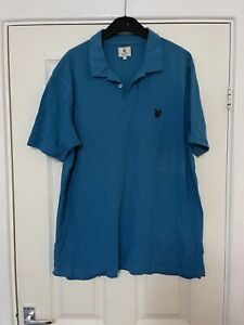 Mens Vintage T-shirt Lyle & Scott Blue Size XL Mens Short Sleeve Summer (N18)