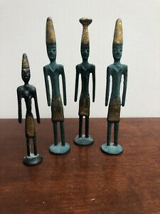 Vintage Bronze Phoenician Mini Statues with Gilt on Tops & Garments x 4