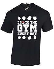 I GO TO THE GYM MENS T SHIRT POKEMON PIKACHU GO ASH GENGAR DRAGONBALL S - 5XL