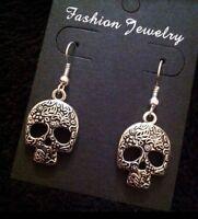 Sugar Skull Earrings Day Of The Dead Silver Unusual Gothic Vintage Flower *UK*