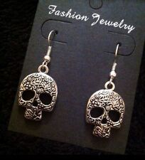 Sugar Skull Earrings Day Of The Dead Silver Unusual Gothic Vintage Flower *UK*