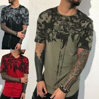 Mens T Shirt Slim Fit Casual T-shirt Top Hip-hop Clothes Bodybuilding Muscle Tee