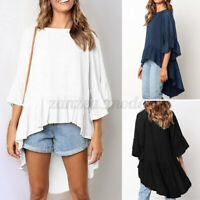 ZANZEA Women Loose Cotton 3/4 Sleeve Shirt Tops Ruffle Hem High Low Blouses Plus