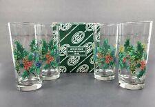New listing Set of 4 Portmeirion Holly & Ivy 15oz Cooler Glasses Tumblers Original Box Euc