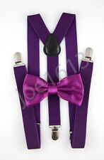 Blackberry Bow Tie Dark Purple Suspender Mens Adult Combo Set Wedding SBT36