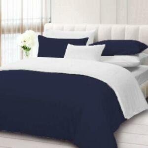 Navy Blue & White Solid Reversible Duvet Set 1000 TC Egyptian Cotton All Size