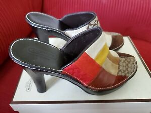 Coach Women's Clogs Size 7B - Multi Patchwork  Slip On High Heel Shoes NWT