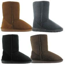 Womens Ella Shoes Midi Boot Winter Ankle Warm Faux Suede Fur Grey Chestnut Black