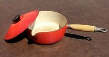 Vintage Le Creuset Saucepan Red With Lid And Wooden Handle 20cm
