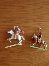 Cherilea Plastic Canadian Mountie & Red Indian On Horse On Stand Soldier Figure