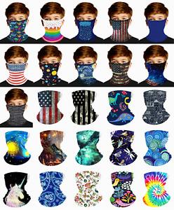 Bandana Face Mask for Kids Boys Girls Cover Neck Gaiter Scarf Reusable Loops Ear