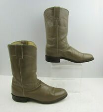 Ladies Justin Taupe Leather Roper Western Cowgirl Boots Size : 7 A *NARROW*