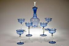 1920's Bimini Glass - 7 Pc Decanter & Six Nude Stem Cordials Blue w/White Nudes